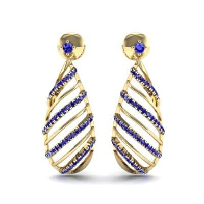 Banded Pear Drop Blue Sapphire Earrings (0.57 CTW) Side View