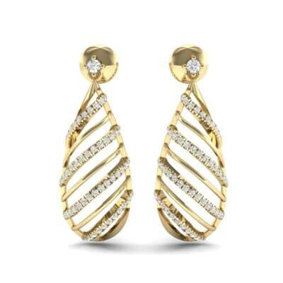 Banded Pear Drop Diamond Earrings (0.57 CTW) Side View