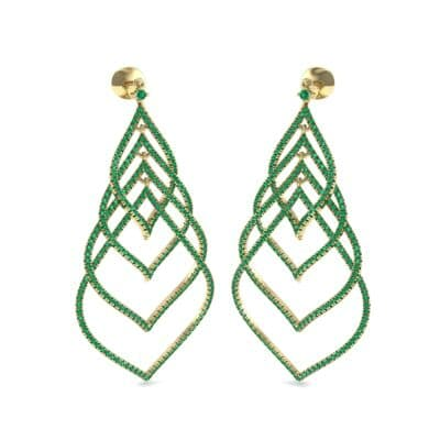 Pave Leaflet Emerald Earrings (2.41 CTW) Perspective View