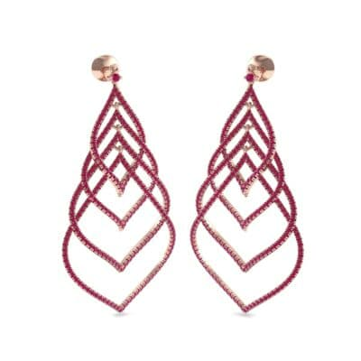 Pave Leaflet Ruby Earrings (2.41 CTW) Perspective View