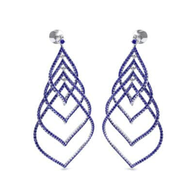 Pave Leaflet Blue Sapphire Earrings (2.41 CTW) Perspective View