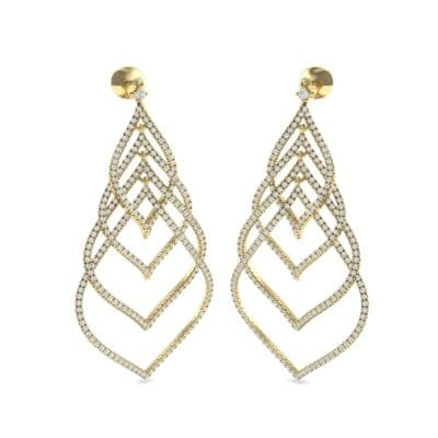 Pave Leaflet Diamond Earrings (2.41 CTW) Perspective View
