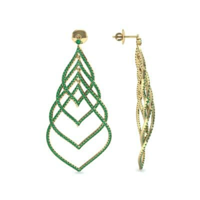 Pave Leaflet Emerald Earrings (2.41 CTW) Top Dynamic View