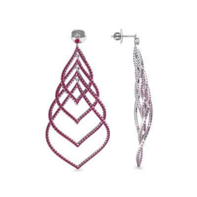 Pave Leaflet Ruby Earrings (2.41 CTW) Top Dynamic View