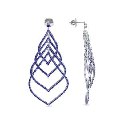 Pave Leaflet Blue Sapphire Earrings (2.41 CTW) Top Dynamic View