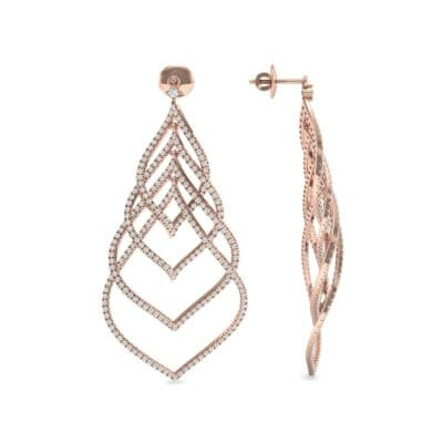 Pave Leaflet Diamond Earrings (2.41 CTW) Top Dynamic View