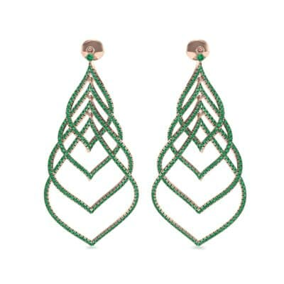 Pave Leaflet Emerald Earrings (2.41 CTW) Side View