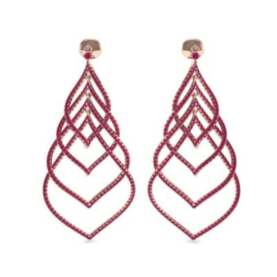 Pave Leaflet Ruby Earrings (2.41 CTW) Side View