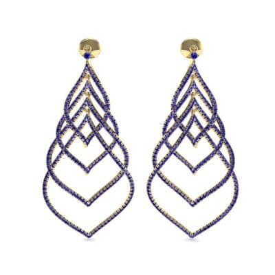 Pave Leaflet Blue Sapphire Earrings (2.41 CTW) Side View