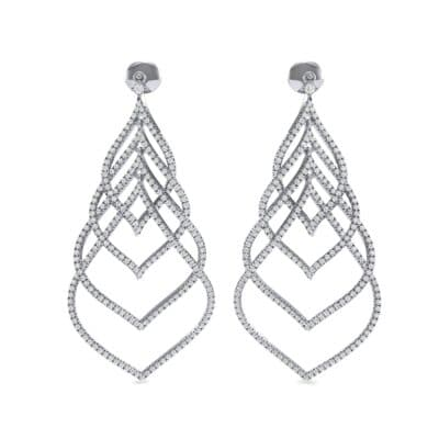 Pave Leaflet Diamond Earrings (2.41 CTW) Side View