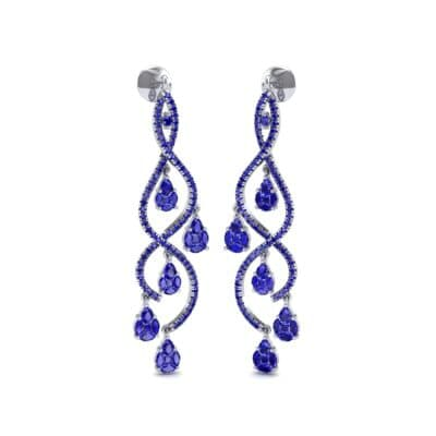 Cascade Blue Sapphire Earrings (2.97 CTW) Perspective View