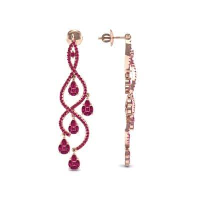 Cascade Ruby Earrings (2.97 CTW) Top Dynamic View