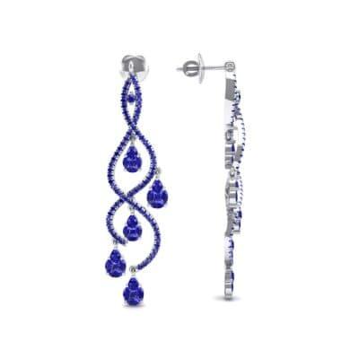 Cascade Blue Sapphire Earrings (2.97 CTW) Top Dynamic View