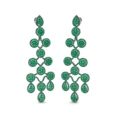 Halo Cascade Emerald Earrings (8.35 CTW) Perspective View