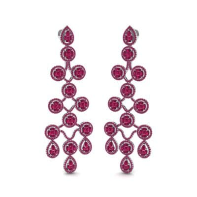 Halo Cascade Ruby Earrings (8.35 CTW) Perspective View