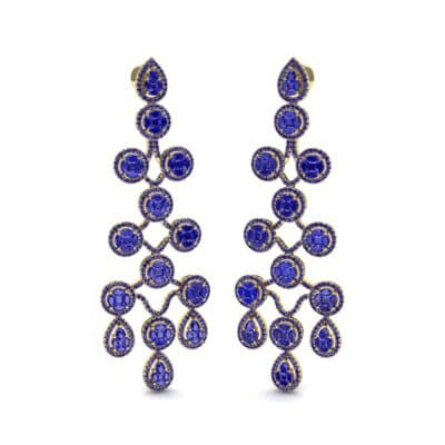 Halo Cascade Blue Sapphire Earrings (8.35 CTW) Perspective View