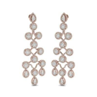 Halo Cascade Diamond Earrings (8.35 CTW) Perspective View