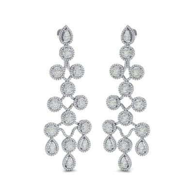Halo Cascade Crystal Earrings (8.35 CTW) Perspective View