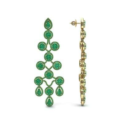 Halo Cascade Emerald Earrings (8.35 CTW) Top Dynamic View