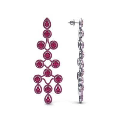 Halo Cascade Ruby Earrings (8.35 CTW) Top Dynamic View