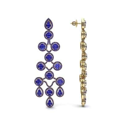 Halo Cascade Blue Sapphire Earrings (8.35 CTW) Top Dynamic View