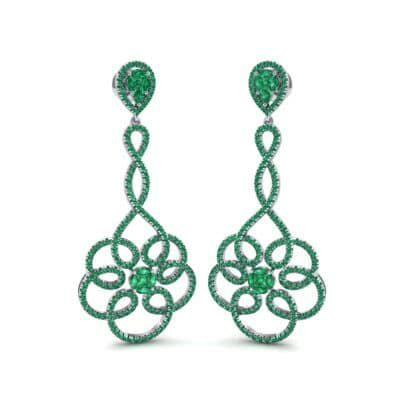 Pirouette Emerald Earrings (2.44 CTW) Perspective View