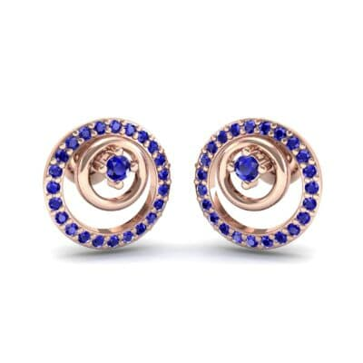 Concentric Blue Sapphire Earrings (0.27 CTW) Perspective View