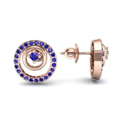 Concentric Blue Sapphire Earrings (0.27 CTW) Top Dynamic View