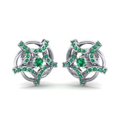 Shuriken Emerald Earrings (0.31 CTW) Perspective View