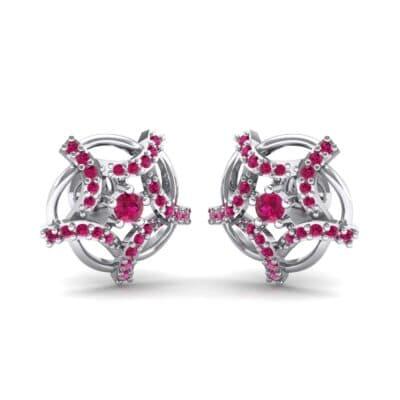 Shuriken Ruby Earrings (0.31 CTW) Perspective View
