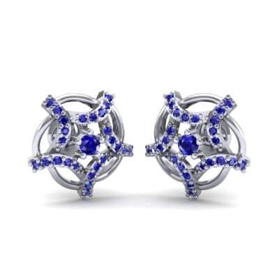 Shuriken Blue Sapphire Earrings (0.31 CTW) Perspective View