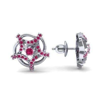 Shuriken Ruby Earrings (0.31 CTW) Top Dynamic View