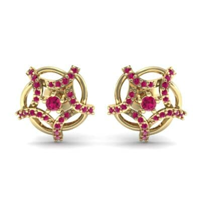 Shuriken Ruby Earrings (0.31 CTW) Side View