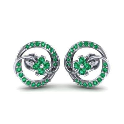 Flower Drum Emerald Earrings (0.32 CTW) Perspective View