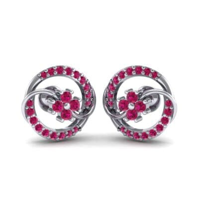 Flower Drum Ruby Earrings (0.32 CTW) Perspective View