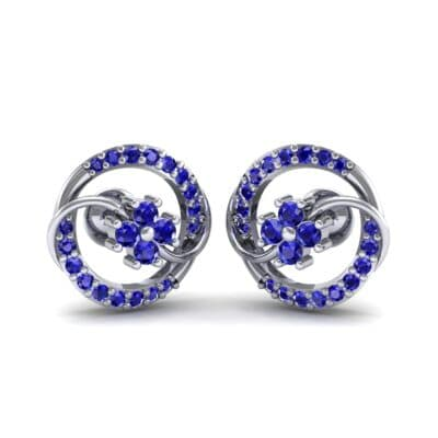 Flower Drum Blue Sapphire Earrings (0.32 CTW) Perspective View