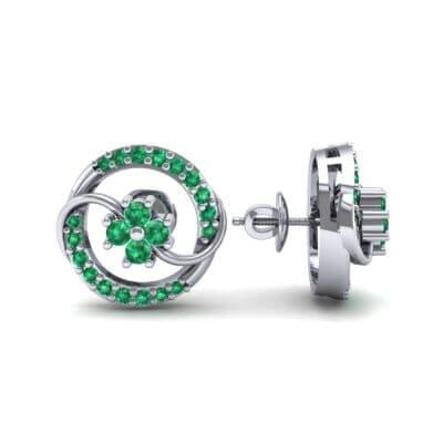 Flower Drum Emerald Earrings (0.32 CTW) Top Dynamic View
