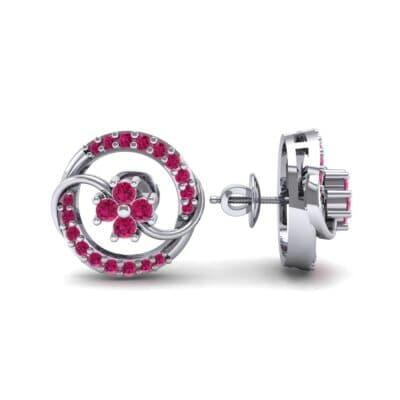 Flower Drum Ruby Earrings (0.32 CTW) Top Dynamic View