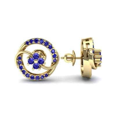 Flower Drum Blue Sapphire Earrings (0.32 CTW) Top Dynamic View