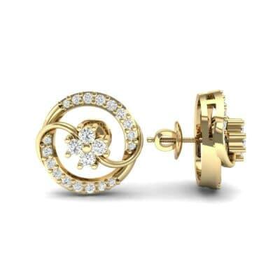 Flower Drum Diamond Earrings (0.32 CTW) Top Dynamic View