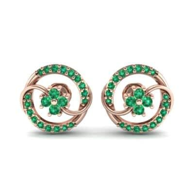 Flower Drum Emerald Earrings (0.32 CTW) Side View