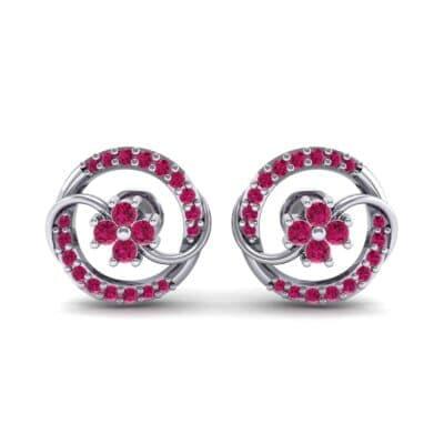 Flower Drum Ruby Earrings (0.32 CTW) Side View