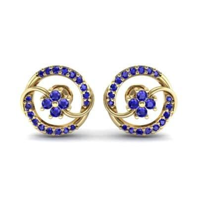 Flower Drum Blue Sapphire Earrings (0.32 CTW) Side View