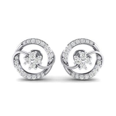 Flower Drum Diamond Earrings (0.32 CTW) Side View