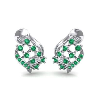 Studded Crosshatch Emerald Earrings (0.16 CTW) Perspective View