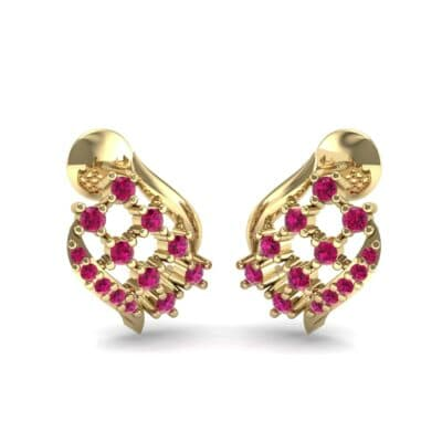 Studded Crosshatch Ruby Earrings (0.16 CTW) Perspective View