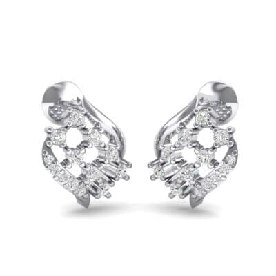 Studded Crosshatch Crystal Earrings (0.16 CTW) Perspective View