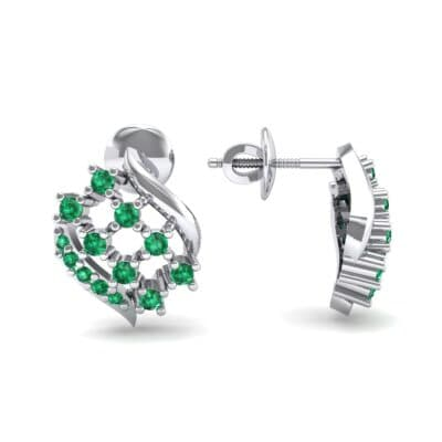 Studded Crosshatch Emerald Earrings (0.16 CTW) Top Dynamic View