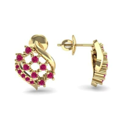 Studded Crosshatch Ruby Earrings (0.16 CTW) Top Dynamic View