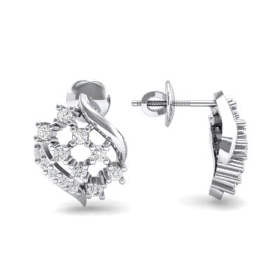 Studded Crosshatch Crystal Earrings (0.16 CTW) Top Dynamic View